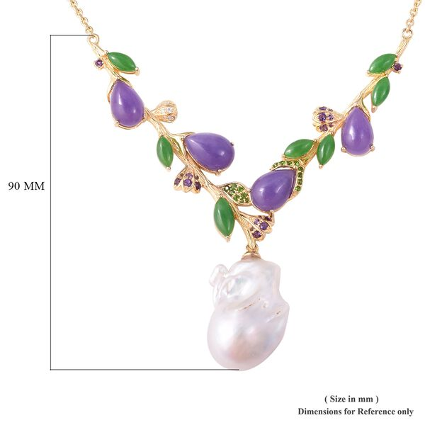 Baroque Freshwater Pearl and Multi Gemstone Necklace (Size 18) in Yellow Gold Overlay Sterling Silver, Silver wt 12.00 Gms
