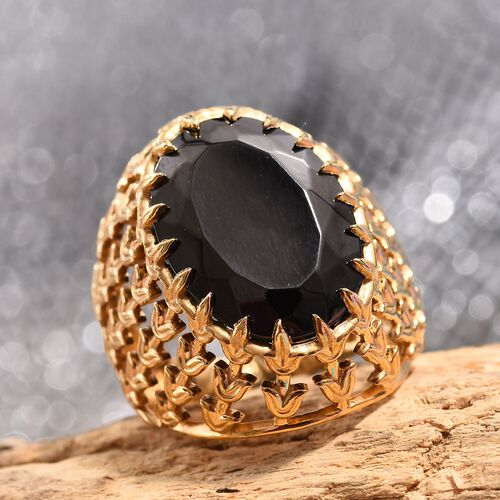 Elite Shungite (Ovl 18x13 mm) Solitaire Ring in 14K Gold Overlay Sterling Silver 7.75 Ct. Silver wt 6.10 Gms