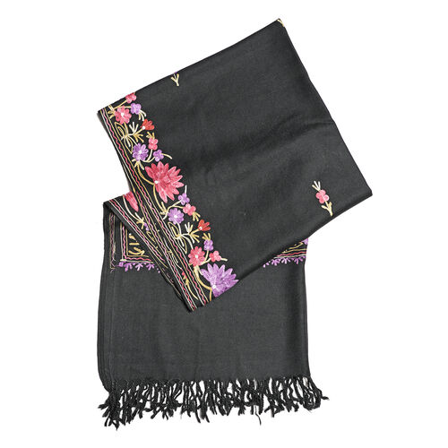 One Time Deal-100% Merino Wool Black, Purple and Multi Colour Flower and Leaves Embroidered Scarf (Size 190x70 Cm)