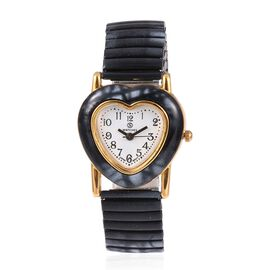 STRADA Japanese Movement Water Resistant Heart Bracelet Watch (Size 6.25 - 6.75 Inch) Colour Black and White