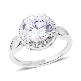 ELANZA Simulated White Diamond Halo Ring in Rhodium Plated Sterling Silver