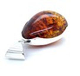 Natural Baltic Amber Pendant in Sterling Silver, Silver wt 14.78 Gms