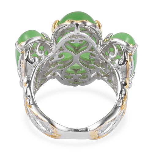 Green Jade (Ovl 10.50 Ct) 3 Stone Ring in Rhodium and Yellow Gold Overlay Sterling Silver 18.500 Ct.