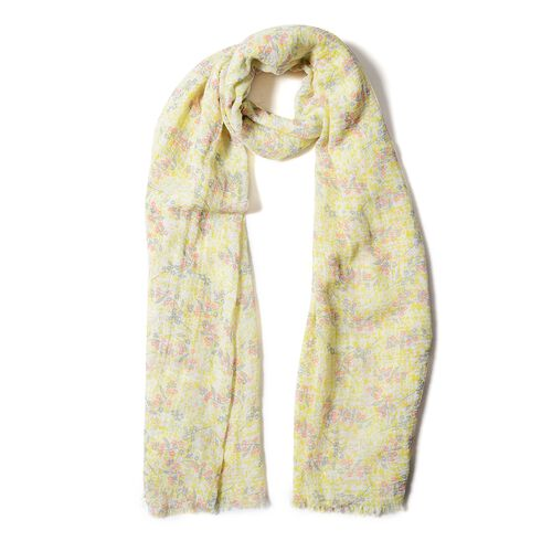 Yellow, Grey and Pink Colour Small Flower Pattern Scarf (Size 170x90 Cm)