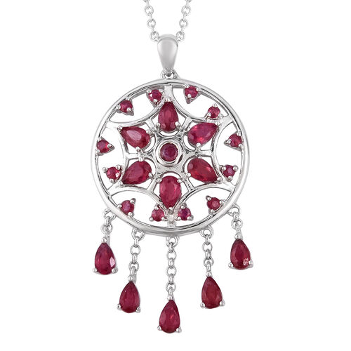 LucyQ 3.95 Ct African Ruby Dream Catcher Necklace in Rhodium Plated Silver 20 Inch 7.47 Grams