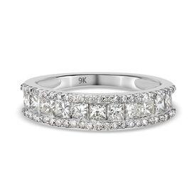 9K White Gold SGL Certified Diamond (I3/G-H) Half Eternity Ring 1.00 Ct.