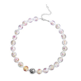 Pink Colour Murano Style Glass and Simulated Pink Sapphire Necklace (Size 20 with 3 inch Extender)