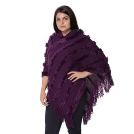 Knit Fluffy Stripe Pattern Hooded Poncho with Tassels (Size 85x85 Cm) - Purple