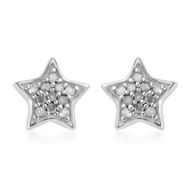 Diamond Star Stud Earrings (with Push Back) in Platinum Overlay Sterling Silver 0.09 Ct.