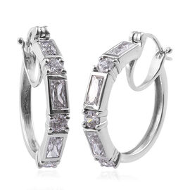 J Francis Made with Swarovski Zirconia Hoop Earrings in Platinum Plated Sterling Silver 7.12 Grams
