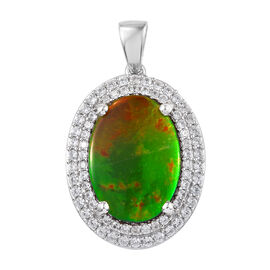 AA Canadian Ammolite (Ovl 18x13mm), Natural Cambodian Zircon Pendant in Platinum Overlay Sterling Silver