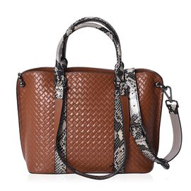 100% Genuine Leather Quilted Pattern Tote Bag with Detachable Shoulder Strap and Zipper Closure (Siz