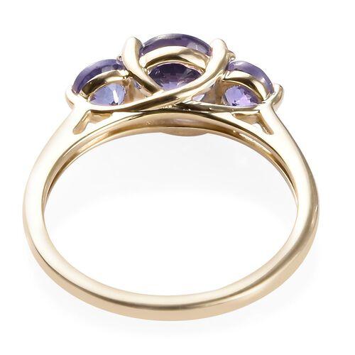 One Time Deal 9K Yellow Gold Tanzanite Trilogy Ring 1.50 Ct.