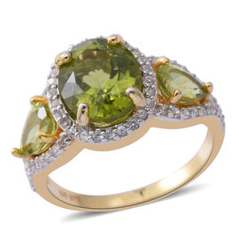 6.59 Ct Chinese Peridot and Zircon Ring in Gold and Platinum Plated Silver