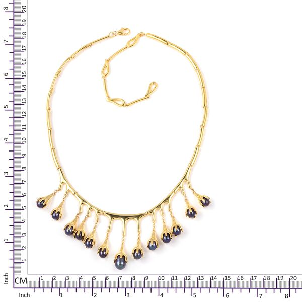 LucyQ Freshwater Peacock Pearl (Pearl) Drip Necklace (Size 20) in Yellow Gold Overlay Sterling Silver. Silver wt 37.02 Gms