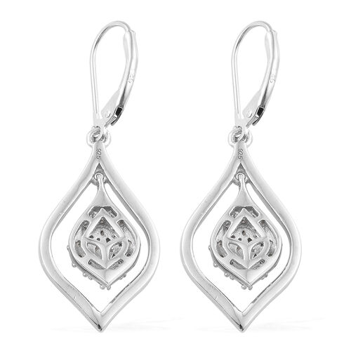 Diamond (Tapered Baguette) Lever Back Earrings in Platinum Overlay Sterling Silver 0.500 Ct, Silver wt 5.00 Gms.