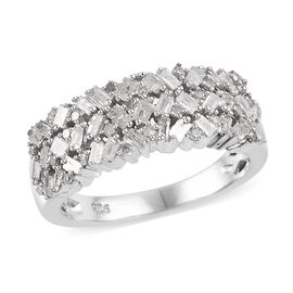 Diamond (Bgt and Rnd) Band Ring in Platinum Overlay Sterling Silver 0.50 Ct.