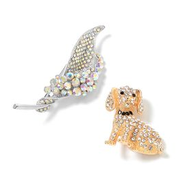 2 Piece Set - Magic Colour Austrian Crystal (Rnd), White and Black Austrian Crystal Dog and Calla Lily Brooch in Gold Plated