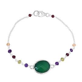 Verde Onyx (Ovl 16x12mm), Amethyst, Citrine, Hebei Peridot and Rhodolite Garnet Bracelet (Size 7.5)