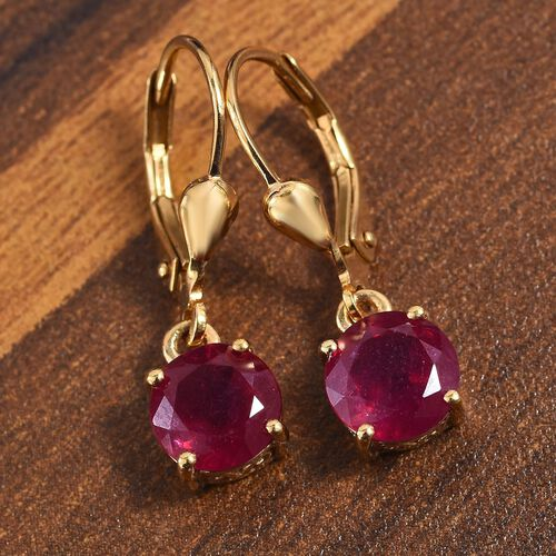 AA African Ruby Lever Back Earrings in 14K Gold Overlay Sterling Silver 3.75  Ct.
