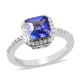 Monster Deal- RHAPSODY 950 Platinum AAAA Tanzanite (Asscher Cut) and Diamond (VS/E-F) Ring 2.100 Ct.