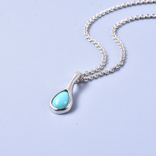 LucyQ AAA Arizona Sleeping Beauty Turquoise (9x6mm) Pendant With Chain  (Size 20) in Rhodium Overlay Sterling Silver
