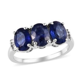 3.50 Ct Masoala Sapphire and Diamond Trilogy Ring in Platinum Plated Sterling Silver
