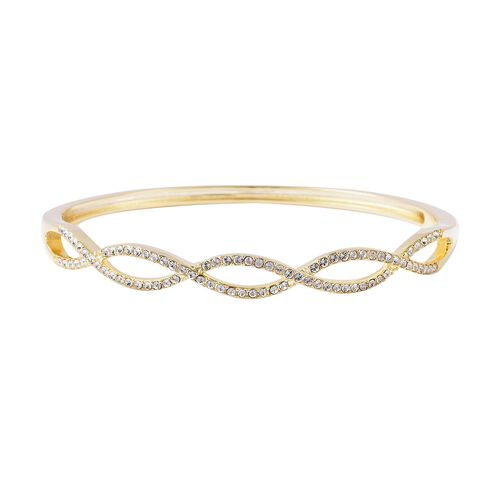 J Francis White Crystal from Swarovski Infinity Pattern Bangle in Yellow Gold Tone 7.5 Inch