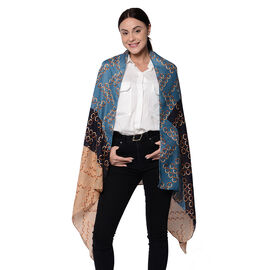 New Arrival- Abstract Pattern Scarf in Khaki and Navy (80x180cm)