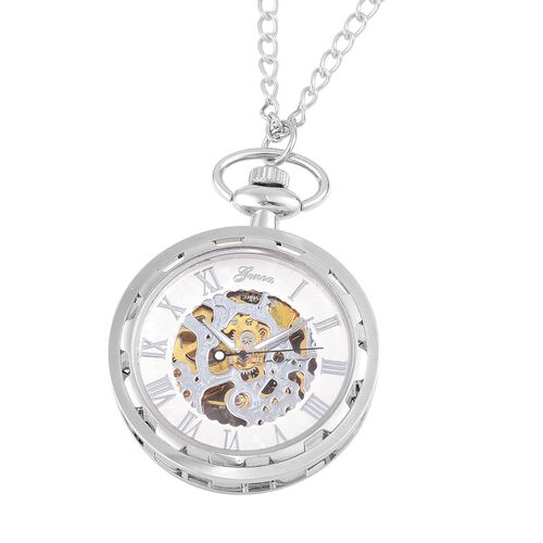 GENOA Automatic Skeleton White Dial Water Resistant Pocket Watch with Transparent Cover and Chain (Size 31) in Silver Tone
