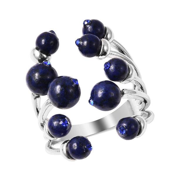 Lapis Lazuli Ring in Silver Tone 6.00 Ct.