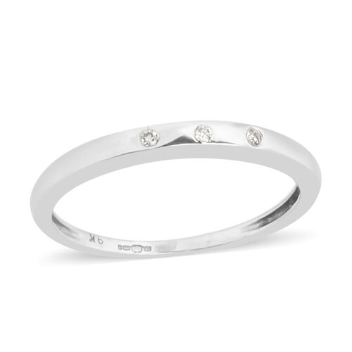 Diamond Wedding Band Ring in 9K White Gold