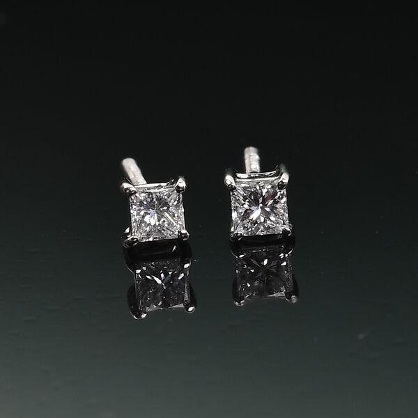 RHAPSODY 950 Platinum IGI Certified Diamond (Princess Cut) (VS/E-F) Solitaire Stud Earrings (with Screw Back) 0.20 Ct.