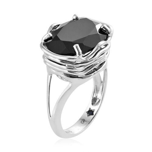 GP Boi Ploi Black Spinel (Ovl 16x12 mm), Kanchanaburi Blue Sapphire Ring in Platinum Overlay Sterling Silver 10.500 Ct.