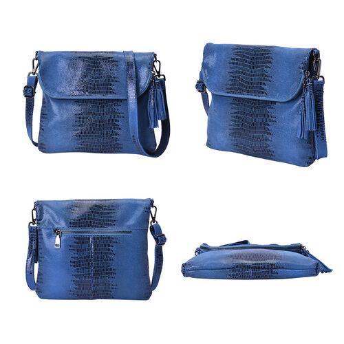 100% Genuine Leather Lizard Skin Pattern Crossbody Bag with Adjustable Strap (Size 24x3x24 Cm) - Blue