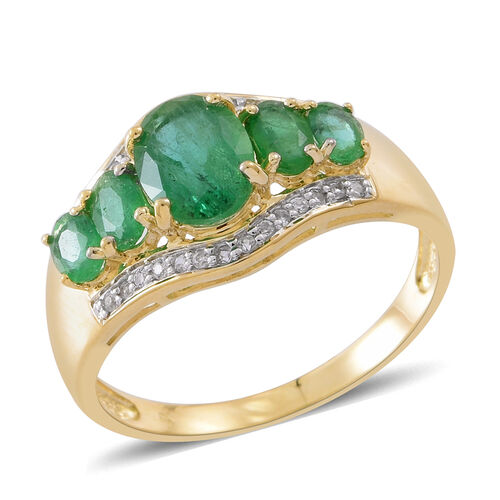 Limited Edition - Designer Inspired - 9K Yellow Gold AAA Kagem Zambian Emerald (Ovl 1.15 Ct), Natural White Cambodian Zircon Ring 2.250 Ct.