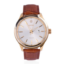 JOWISSA Tiro Swiss Mens 5 ATM Water Resistant Watch with Alligator Print Genuine Leather Strap - Gold & Brown
