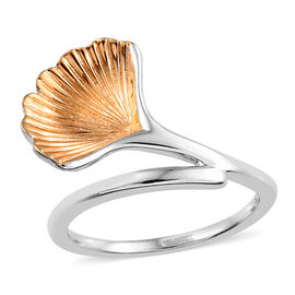 Platinum and Yellow Gold Overlay Sterling Silver Shell Ring, Silver wt 3.13 Gms.
