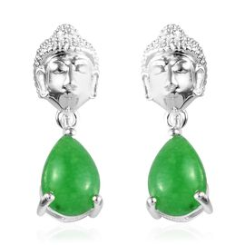 Green Jade (Pear) Buddha Earrings (with Push Back) in Sterling Silver 3.00 Ct.