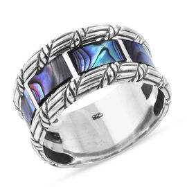 Royal Bali Collection - Abalone Shell Eternity Band Ring in Sterling Silver, Silver wt 6.00 Gms