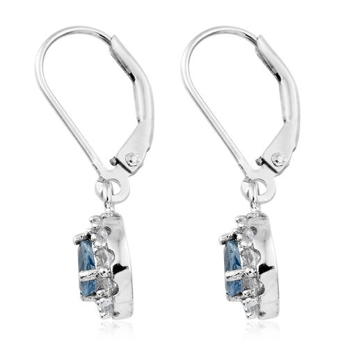 One time Deal - Santa Maria Aquamarine (Pear), Natural Cambodian Zircon Lever Back Earrings in Platinum Overlay Sterling Silver 1.000 Ct.