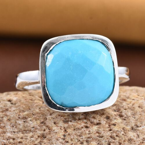 Arizona Sleeping Beauty Turquoise (Cush) Solitaire Ring in Platinum Overlay Sterling Silver 5.250 Ct.