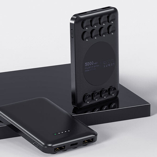 Wesder 5000 mah Power Bank with Wireless Charger in Sucker Size:10x6.3x1.7Cm) - Black