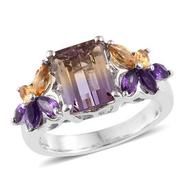 Anahi Ametrine (Oct), Amethyst and Citrine Ring in Platinum Overlay Sterling Silver 3.000 Ct