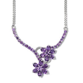 Amethyst (Ovl) Floral Necklace with Chain (Size 18) in Platinum Overlay Sterling Silver 3.000 Ct, Silver wt 8.00 Gms.