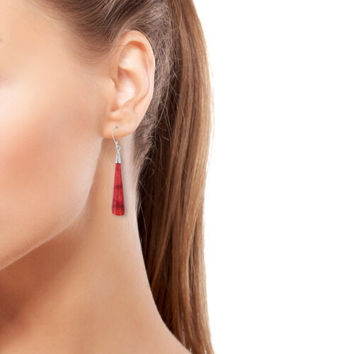 Royal Bali Collection - Coral Hook Earrings in Sterling Silver.