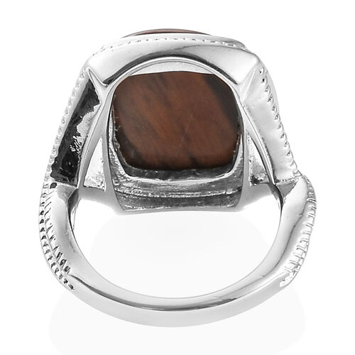 Coffee Obsidian (Cush 16x12 mm) Ring in Ion Plated Stainless Steel 7.500 Ct.