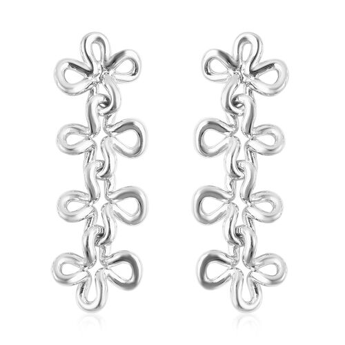 LucyQ Splash Collection - Rhodium Overlay Sterling Silver Dangle Earrings (with Push Back)