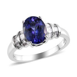RHAPSODY 2.15 Ct AAAA Tanzanite and Diamond Solitaire Design Ring in Platinum 5.12 Grams