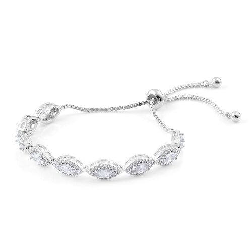 AAA Simulated White Diamond Adjustable Bracelet (Size 6.5-9) in Silver Tone
